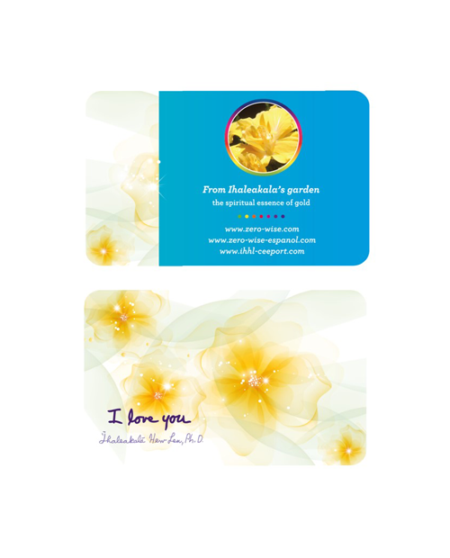 double yellow hibiscus card